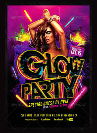 Free Flyer Glow In The Dark Party Flyer Template 25 Best Glow Party Flyer Psd