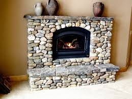 river rock fireplace awesome