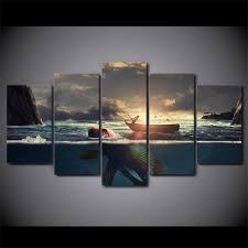 5 piece sunset fishing boat canvas wall art sets it make your day on boat canvas wall art with sunset fishing boat it make your day