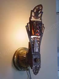 pr vintage deco infleunced lighting sconces w mica shades antique light fixtures