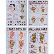 4pcs Set Human Body Meridian Chart Foot Reflex Zone Health