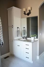 wood bathroom vanity. Bathroom Decoration Using White Wood Vanity Linen Cabinets Including Square Unframed Wall A