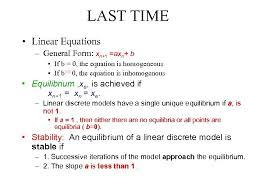 last time linear equations general form xn 1 axn b