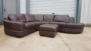 brown leather corner sofa and storage footstool can deliver southside glasgow 295 00 s i img com 00 s ntc2wdewmjq