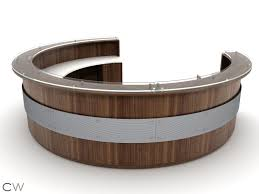 circular office desks. Full Circular Greeting Desk With Floating Accent Screen #reception Office Desks