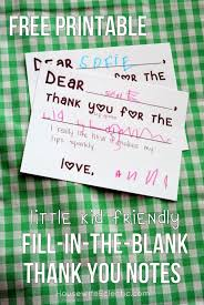 Blank Thank You Notes Free Printable Fill In The Blank Thank You Card For Little