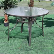 105cm round glass table metal frame