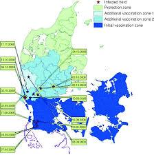 Bluetounge Virus Distribution Of Bluetongue Virus Btv Outbreaks In Denmark During