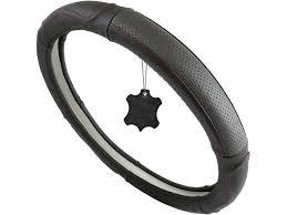tiretek genuine leather steering wheel cover universal 15 inch breathable anti slip