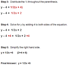 writing equations using point slope form
