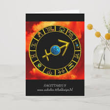 Card Birthday Chart Sagittarius Blue Gold Zodiac Birthday Chart Card