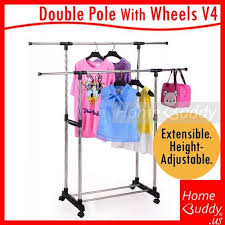 singapore garment rack double pole with wheels v4 1tier or 2tier 80 155cm
