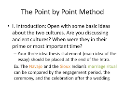 comparison contrast essay this essay explores the similarities and  the point by point method i introduction open some basic ideas about the