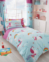 unicorn fairytale girls kids single duvet quilt cover