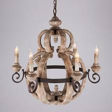 retro country 6 light candle style wood and metal vintage chandelier
