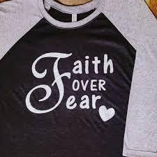 Custom Glitter Faith Over Fear Raglan Baseball Tee Nwt