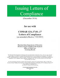 Letters Of Office Letters Of Compliance Manual Division Of Early Childhood
