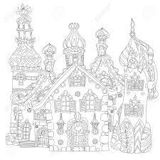 かわいいおとぎ話町の落書きイラストはがき印刷や大人の塗り絵をスケッチします