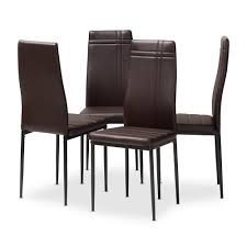 matiese dark brown faux leather upholstered dining chair set of 4