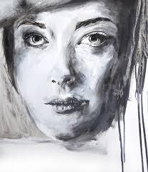 oil painting black white portrait