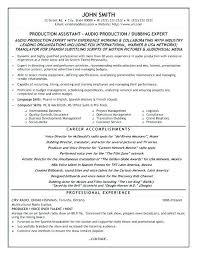 Production Assistant Resume Sample Film Crew Resume Template Film