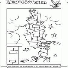 Kleurplaat Zwarte Piet Met Heel Veel Cadeaus Op Dak
