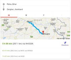 Patna To Deoghar Google Map Route Details By Google