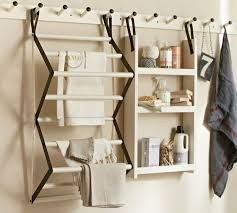 white wooden traditional drying rack for laundry room and wall mounted shelves rack also clothes hook