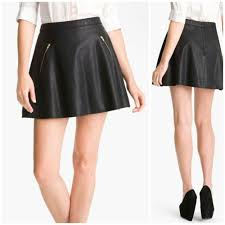 details about free people black faux leather mini circcle skirt zippered pockets sz 10 nwt