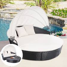 Round Outdoor Bed Exterior Black Iron Arc Canopy Daybed With Double Chaise Lounge