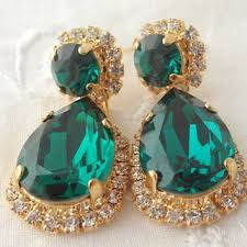 emerald green crystal chandelier earrings gold plated rhineston