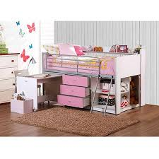Savannah Storage Loft Bed with Desk, White and Pink