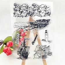 Coastline and <b>lighthouse</b> tower <b>Silicone</b> Stamp DIY Scrapbooking ...