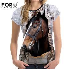 Wholesale <b>FORUDESIGNS</b> 3D Crazy Horse <b>Women T Shirt</b> Summer ...