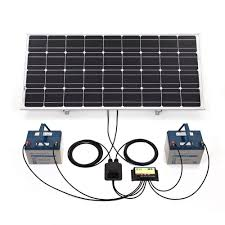 biard 100w silver solar panel with adjule frame 10a dual battery charge controller 5m