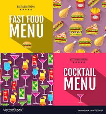 Design Fast Food Menu Flat Fast Food Menu Typography Design