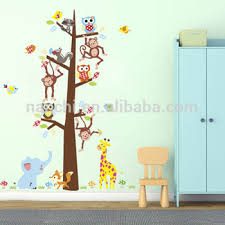 Monkey Growth Chart Wall Cartoon Jungle Animals Monkey Owl Elephant Wall Sticker For Kids Room Home Decor Growth Chart Height Measure Mural Art Pvc Decal Buy Monkey Owl