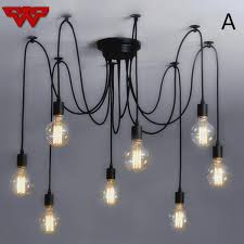 mordern nordic retro edison bulb light chandelier vintage loft antique adjule diy e27 art spider ceiling lamp fixture light edison bulb light chandelier