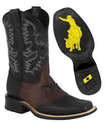 men s leather rubber sole cowboy boots square toe