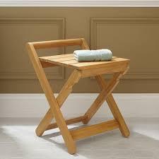 dhara teak folding shower stool