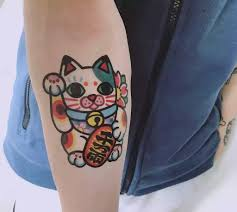 Money Cat Tattoo Sticker