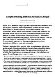 How To Write A Warning Letter To An Employee Sample Warning Letter For Drunk Employee Fill Online