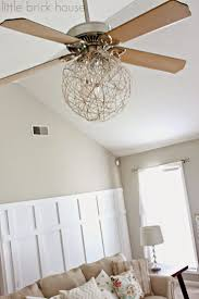 fancy magnificent globe rattan chandelier ceiling fan light kit with 3 fan blade and astounding brown