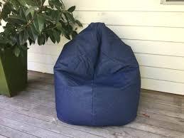 denim bean bag blue chair auction