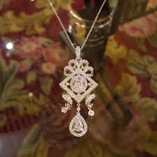 sterling silver rhodium plated oval cut cubic zirconia imperial antique womens pendant necklace
