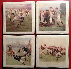 vine rugby handcrafted italian ceramic coaster set of 4