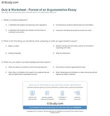 quiz worksheet format of an argumentative essay com print argumentative essay definition format examples worksheet