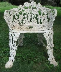 white iron garden furniture. Antique Vintage Cast Iron Lawn, Garden, Or Patio Ornate Grape Pattern Chair Settee Small Bench Crusty White Paint Garden Furniture