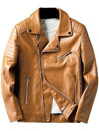 pleated rib asymmetrical zip faux leather jacket light brown 3xl