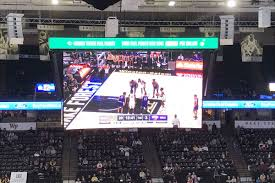 the new scoreboard at the lawrence joel veterans memorial coliseum during the wake forest western carolina basketball game